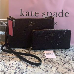 NWT Auth Kate Spade Glitter Crossbody & wallet